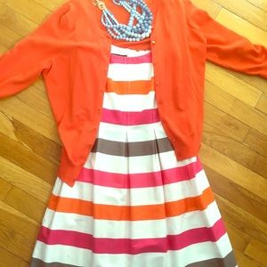 Nine West Orange and Pink Striped Sundress